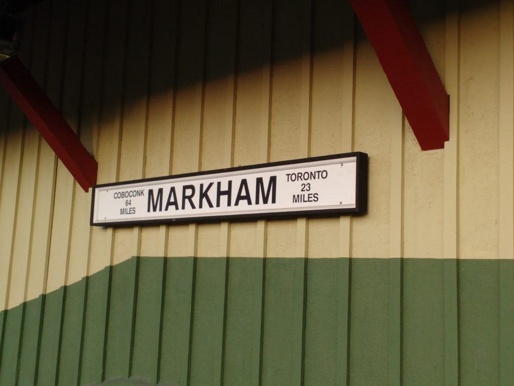 Markham GO distance sign