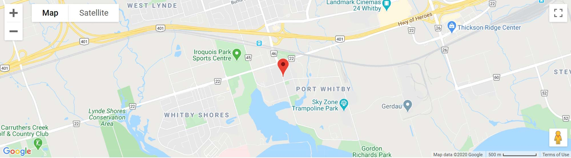 BOATWORKS TOWNS WHITBY ONTARIO MAP